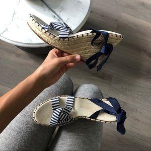 JUICY COUTURE espadrille navy white heel stripe 10